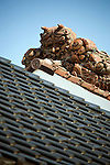 Photo shows Suehiro Sake Brewery in Aizu-wakamatsu City, Fukushima, Japan on 15 March 2013.  Photographer: Robert GilhoolyPhoto shows a gargoyle-like object on the roof to ward of evil spirits at the 160-year-old premises of Suehiro Sake Brewery Co. in Aizu-wakamatsu City, Fukushima, Japan on 15 March 2013.  Photographer: Robert Gilhooly