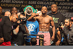 MGM Grand Garden Arena on May 2, 2014 in Las Vegas, Nevada: Official weigh-in for WBC welterweight champion Floyd Mayweather Jr. and WBA champion. Mayweather and Maidana will meet in a WBC/WBA unification fight
