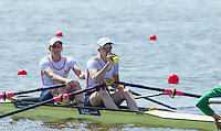 Brandenburg. GERMANY.<br /> GBR W2X, Bow, Katherine GRAINGER and Victoria THORNLEY, at the start of their heat at the 2016 European Rowing Championships at the Regattastrecke Beetzsee<br /> <br /> Friday  06/05/2016<br /> <br /> [Mandatory Credit; Peter SPURRIER/Intersport-images]