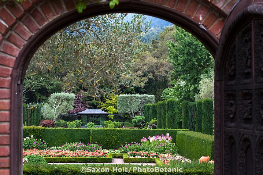 View through gate and entry into the sunken garden at Filoli Estate, California