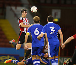 Callum Semple rises up for a last minute header during the U23 Professional Development League match at Bramall Lane Stadium, Sheffield. Picture date: September 6th, 2016. Pic Simon Bellis/Sportimage