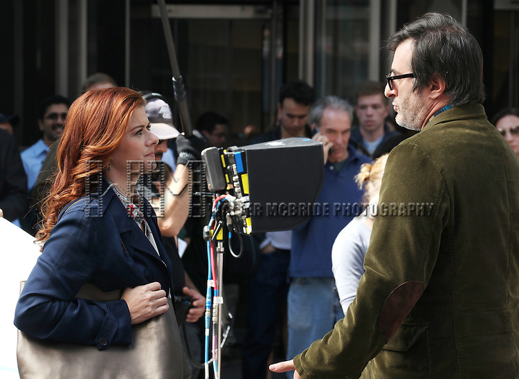 Debra Messing & Jon Robin Baitz filming a scene from the NBC TV Show 'Smash' in Times Square, New York City on September 12, 2012