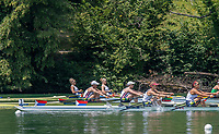 """Lucerne, SWITZERLAND, 14th July 2018, Saturday, Semi Final A/B2, """"USA W2X """"Bow, """" Meghan O'LEARY"""" and """" Ellen TOMEK"""",   FISA World Cup III Lake Rotsee, © © Peter SPURRIER/Alamy Live News/Alamy Live News"""