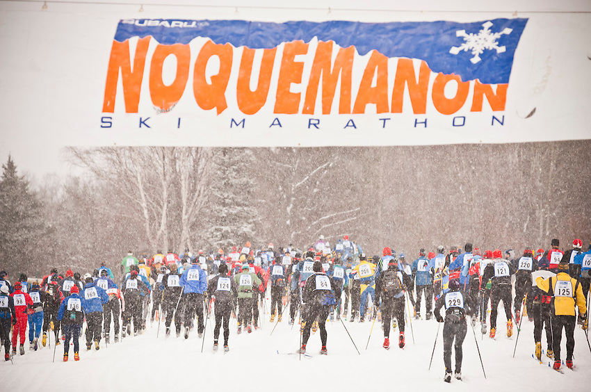 Scene from the start of the Noquemanon Ski Marathon Nordic cross country ski race from Ishpeming Michigan to Marquette Michigan.