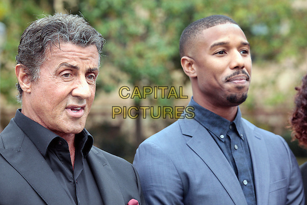 PHILADELPHIA, PA - NOVEMBER 6: Sylvester Stallone and Michel B. Jordan pictured as the Cast Of Creed make an appearance at Philadelphia Museum of Art on November 6, 2015 in Philadelphia, Pennsylvania. <br /> CAP/MPI09<br /> &copy;MPI09/Capital Pictures