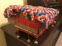 Decorated hand made cardboard box with red white and blue knitted top &ndash;adorned with red tape and whole thing Spins- and has bears and beads-8x8in<br /> <br /> THIS IS PART OF OUR COLLECTION OF MARGARET'S GROCERY AND REV. H.D. DENNIS - ART WORKS in Mississippi Folk Art Foundations Collection <br /> <br /> Ms. Altman is the Founder and Director of the Mississippi Folk Art Foundation a non profit, that is dedicated to preserving Margaret's Grocery. A visionary outdoor folk environment in Vicksburg Mississippi.<br />  to see some of the collection documented by William Arnett in his book Souls Grown Deep volume 2 please see see link below.<br /> <br /> http://www.soulsgrowndeep.org/artist/rev-harmon-d-dennis<br /> <br /> <br /> https://www.gofundme.com/SaveMargaretsGrocery?lang=en-US