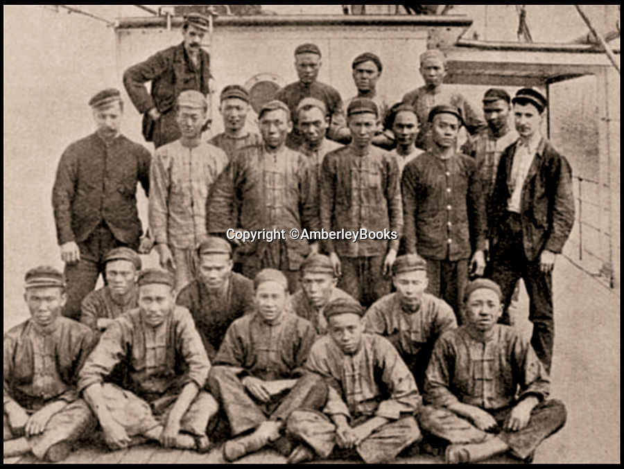 BNPS.co.uk (01202 558833)Pic:  AmberleyBooks/BNPS<br /> <br /> The crew of the Moyen, 1895.<br /> <br /> The fascinating stories of the first Chinese settlers to visit Britain over 300 years ago are revealed in a new book.<br /> <br /> Today, over 400,000 Chinese people live in Britain, but up until the 19th century only a handful of their countrymen had made the long, arduous journey over from the Far East.<br /> <br /> The first visitors were greeted with wonderment, enjoying audiences with monarchs of the day, but subsequent generations faced out-right hostility from locals who thought they were 'debaucherous' and corrupting British women.<br /> <br /> The trials and tribulations of the Chinese community in Britain are documented by historian Barclay Price in a new book, The Chinese in Britain.
