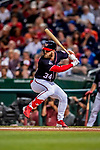 21 September 2018: Washington Nationals outfielder Bryce Harper in action during a game against the New York Mets at Nationals Park in Washington, DC. The Mets defeated the Nationals 4-2 in the second game of their 4-game series. Mandatory Credit: Ed Wolfstein Photo *** RAW (NEF) Image File Available ***