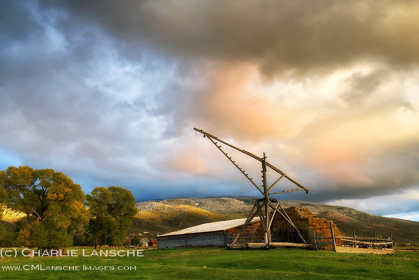 Country livin'. I love seeing and photographing old ranch and farm properties near my home. This hay derrick was built by the current landowner's grandfather around the turn of the century. He told me stories of using it as a big swing during childhood. This beauty is used today for loading hay, as it has been for more than 100 years. Summit County, Utah. September 2013.