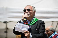 Fabrizio De Sanctis (President of ANPI Roma).<br /> <br /> Rome, 25/04/2018. Today, to mark the 73rd Anniversary of the Italian Liberation from nazi-fascism ('Liberazione'), ANED Roma & ANPI Roma (National Association of Italian Partizans) held a march ('Corteo') from Garbatella to Piazzale Ostiense where a rally took place attended by Partizans, Veterans and politicians – including the Mayor of Rome and the President of Lazio's Region. From the organisers Facebook page:<<For the 25th of April, the 73rd Anniversary of the Liberation of Italy from nazi-fascism, while facing new threats to the world peace, it is necessary to remember that the Fight for Liberation triggered the greatest, positive, 'break' of the whole modern age of the Italian history. The Fight for the Liberation was supported by a great solidarity of the people. The memory of those who in the partizan struggle, in the camps of imprisonment, internment or extermination, opposed - even until the sacrifice of life - the dictatorship, the greed of territorial conquests, crazy ideologies of race supremacy, constitutes concrete warning against any attempt to undermine the foundations of the free institutions born of the Resistance. Memory is not an instrument of hatred or revenge, but of unity in a spirit of harmony without discriminations...<br /> (For the full caption please read the PDF attached at the the beginning of this story).<br /> <br /> For more info please click here: https://bit.ly/2vOIfNf & https://bit.ly/2r4iJy3 & http://www.anpi.it<br /> <br /> For the Wikipedia's page of the 'Liberazione' please click here: https://en.wikipedia.org/wiki/Liberation_Day_(Italy)<br /> <br /> For a Video of the event by Radio Radicale please click here: https://www.radioradicale.it/scheda/539534/manifestazione-promossa-dallanpi-in-occasione-della-73a-festa-della-liberazione