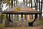 Stone and Wood Gazebo at Heckscher Park, on November 8, 2014, at Huntington, Long Island, New York, USA