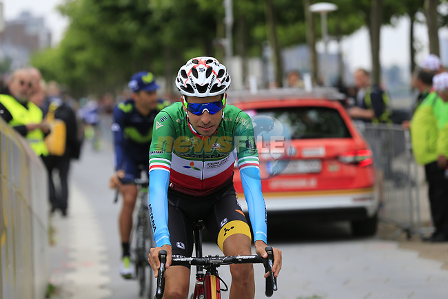 Italian National Champion Fabio Aru (ITA) Astana at sign on in Dusseldorf before the start of Stage 2 of the 104th edition of the Tour de France 2017, running 203.5km from Dusseldorf, Germany to Liege, Belgium. 2nd July 2017.<br /> Picture: Eoin Clarke | Cyclefile<br /> <br /> <br /> All photos usage must carry mandatory copyright credit (&copy; Cyclefile | Eoin Clarke)