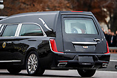 The casket of former US President George H.W. Bush sits in the hearse on the East Front of the US Capitol in Washington, DC, USA, 05 December 2018. George H.W. Bush, the 41st President of the United States (1989-1993), died at the age of 94 on 30 November 2018 at his home in Texas.<br /> Credit: Shawn Thew / Pool via CNP