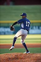 AZL Padres 1 relief pitcher Frank Lopez (17) during an Arizona League game against the AZL Cubs 1 on July 5, 2019 at Sloan Park in Mesa, Arizona. The AZL Cubs 1 defeated the AZL Padres 1 9-3. (Zachary Lucy/Four Seam Images)