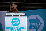 Elizabeth Babade speaking on stage at a Brexit Party event in Chester, Cheshire. The keynote speech was given by the Brexit Party leader Nigel Farage MEP who appeared alongside former Conservative government minister Ann Widdecombe. The event was attended by around 300 people and was one of the first since the formation of the Brexit Party by Nigel Farage in Spring 2019.