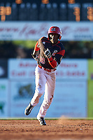 Batavia Muckdogs center fielder Isaiah White (18) running the bases during a game against the State College Spikes on June 23, 2016 at Dwyer Stadium in Batavia, New York.  State College defeated Batavia 8-4.  (Mike Janes/Four Seam Images)