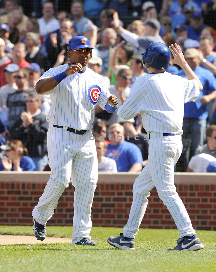 MARLON BYRD, of the Chicago Cubs , in action during the Cubs  game against the Houston Astros at Wrigley Field in Chicago, Illinois  on April 16, 2010...The Cubs win 7-2