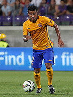 Calcio: amichevole Fiorentina vs Barcellona. Firenze, stadio Artemio Franchi, 2 agosto 2015.<br /> FC Barcelona's Rafinha in action during the friendly match between Fiorentina and FC Barcelona at Florence's Artemio Franchi stadium, 2 August 2015.<br /> UPDATE IMAGES PRESS/Riccardo De Luca