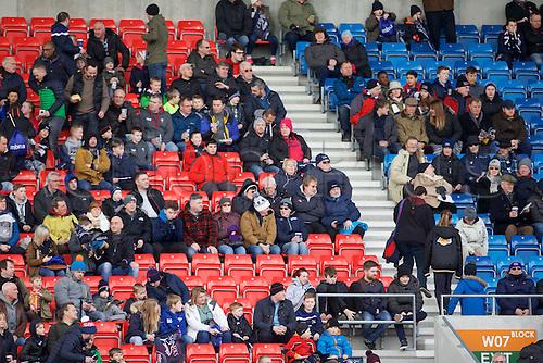 05.03.2016. AJ Bell Stadium, Salford, England. Aviva Premiership. Sale versus Harlequins. Fans in the stand.