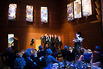St Johnstone FC Scottish Cup Celebration Dinner at Perth Concert Hall...01.02.15<br /> Steven Anderson is interviewed on stage by Gordon Bannerman after watching video footage of his goal in the final<br /> Picture by Graeme Hart.<br /> Copyright Perthshire Picture Agency<br /> Tel: 01738 623350  Mobile: 07990 594431