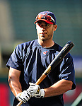 4 September 2009: Cleveland Indians' designated hitter Travis Hafner awaits his turn in the batting cage prior to a game against the Minnesota Twins at Progressive Field in Cleveland, Ohio. The Indians defeated the Twins 5-2 to take the first game of their three-game weekend series. Mandatory Credit: Ed Wolfstein Photo
