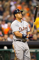 Detroit Tigers third baseman Miguel Cabrera (24) on deck during the MLB baseball game against the Houston Astros on May 3, 2013 at Minute Maid Park in Houston, Texas. Detroit defeated Houston 4-3. (Andrew Woolley/Four Seam Images).