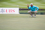 Thomas Aiken of South Africa lines up a putt during the day three of UBS Hong Kong Open 2017 at the Hong Kong Golf Club on 25 November 2017, in Hong Kong, Hong Kong. Photo by Marcio Rodrigo Machado / Power Sport Images