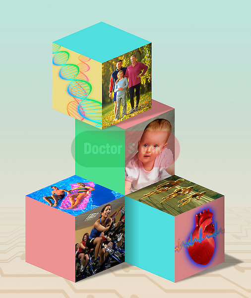 photo illustration integrating symbols of good health, healthy living, healthy lifestyles, genetics, medicine, exercise