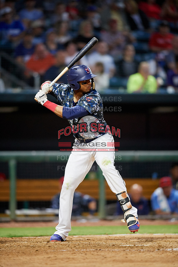 Jacksonville Jumbo Shrimp right fielder John Norwood (22) at bat during a game against the Mobile BayBears on April 14, 2018 at Baseball Grounds of Jacksonville in Jacksonville, Florida.  Mobile defeated Jacksonville 13-3.  (Mike Janes/Four Seam Images)