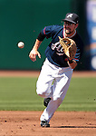 Reno Aces shortstop Talor Harbin makes a play against the Tuscon Padres during a minor league baseball game in Reno, Nev. on Monday, Sept. 3, 2012. The Aces won 2-1..Photo by Cathleen Allison