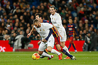 Real Madrid´s Karim Benzema and Barcelona´s Sergio Busquets during 2015-16 La Liga match between Real Madrid and Barcelona at Santiago Bernabeu stadium in Madrid, Spain. November 21, 2015. (ALTERPHOTOS/Victor Blanco) /NortePhoto