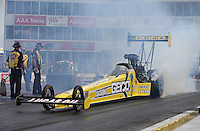 Apr. 28, 2013; Baytown, TX, USA: NHRA top fuel dragster driver Morgan Lucas during the Spring Nationals at Royal Purple Raceway. Mandatory Credit: Mark J. Rebilas-