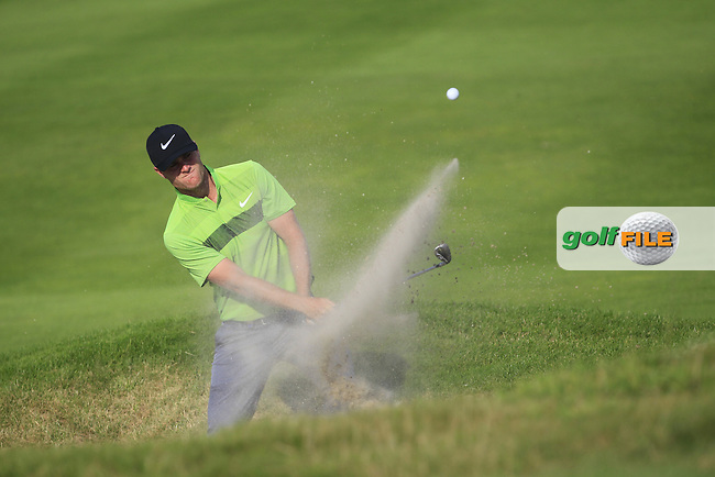 Lucas Bjerregaard (DEN) in a bunker on the 14th during Round 1 of the Made in Denmark 2016 at the Himmerland Golf Resort, Farso, Denmark on Thursday 25th August 2016.<br /> Picture:  Thos Caffrey / www.golffile.ie<br /> <br /> All photos usage must carry mandatory copyright credit   (&copy; Golffile | Thos Caffrey)
