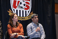 INDIANAPOLIS, IN - January 18, 2013: 2002 and 2006 World Cup captain Claudio Reyna (right) with 1999 World Cup captain Julie Foudy (left). U.S. Soccer hosted a World Cup Coaches and Captains panel at the Indiana Convention Center in Indianapolis, Indiana during the NSCAA Annual Convention.