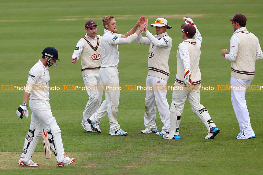 Matthew Dunn of Surrey (3rd L) celebrates the wicket of Jaik Mickleburgh - Surrey CCC vs Essex CCC - LV County Championship Division Two Cricket at the Kia Oval, Kennington, London - 23/04/14 - MANDATORY CREDIT: Gavin Ellis/TGSPHOTO - Self billing applies where appropriate - 0845 094 6026 - contact@tgsphoto.co.uk - NO UNPAID USE