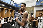 MILWAUKEE, WI - MARCH 16:  Purdue Boilermakers forward Vince Edwards (12) celebrates in the locker room during the 2017 NCAA Men's Basketball Tournament held at BMO Harris Bradley Center on March 16, 2017 in Milwaukee, Wisconsin. (Photo by Jamie Schwaberow/NCAA Photos via Getty Images)