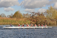 059 .OXB-Juergens .NOV.8+ .Oxford Brookes Univ. Wallingford Head of the River. Sunday 27 November 2011. 4250 metres upstream on the Thames from Moulsford railway bridge to Oxford Universitiy's Fleming Boathouse in Wallingford. Event run by Wallingford Rowing Club..