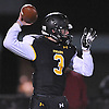 Bo Waters #3, St. Anthony's quarterback, throws a pass to Tyler Palminteri #1 (not in picture) for a 73-yard touchdown in the third quarter of the NYCHSFL Class AAA semifinals against Cardinal Hayes (Bronx) at St. Anthony's High School on Friday, Nov. 11, 2016.