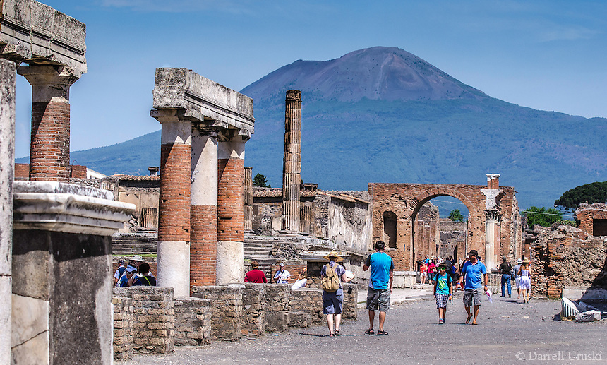 Landscape Photograph of mount Vesuvius and the Temple of Jupiter located in Pompeii, Italy