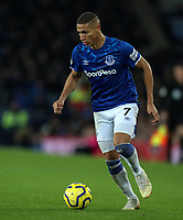 23rd  November 2019; Goodison Park , Liverpool, Merseyside, England; English Premier League Football, Everton versus Norwich City; Richarlison of Everton  runs with the ball - Strictly Editorial Use Only. No use with unauthorized audio, video, data, fixture lists, club/league logos or 'live' services. Online in-match use limited to 120 images, no video emulation. No use in betting, games or single club/league/player publications