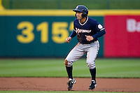 Anthony Seratelli (2) of the Northwest Arkansas Naturals takes a lead off second base during a game against the Springfield Cardinals on May 13, 2011 at Hammons Field in Springfield, Missouri.  Photo By David Welker/Four Seam Images.