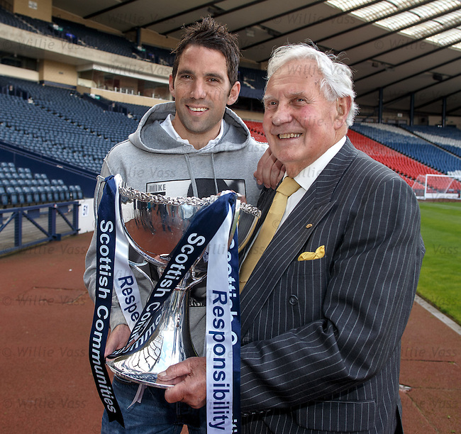 Rangers keeper Neil Alexander with club legend goalie Bobby Brown at Hampden today after the League Cup draw