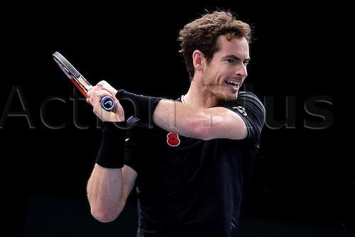 07.11.2015. Paris, France BNP Paribas Master Tennis, Bercy. Semi-finals match between Andy Murray( GBR) and david Ferrrer. Murray returns.