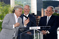 August 12, 2012 File Photo - Montreal (Quebec) CANADA -   <br /> Montreal upcoming 375th anniversary<br /> Preparation du 375 ieme anniversaire de Montreal<br /> <br /> <br /> Gilbert Rozon (L), Jacques Parisien (M) Gerald Tremblay (R)