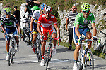 Alberto Contador (w), Alejandro Valverde (g), Joaquin Purito Rodriguez (r) and Nairo Alexander Quintana during the stage of La Vuelta 2012 between La Robla and Lagos de Covadonga.September 2,2012. (ALTERPHOTOS/Paola Otero)