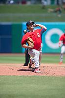 Springfield Cardinals pitcher Austin Warner (16) delivers a pitch on May 19, 2019, at Arvest Ballpark in Springdale, Arkansas. (Jason Ivester/Four Seam Images)
