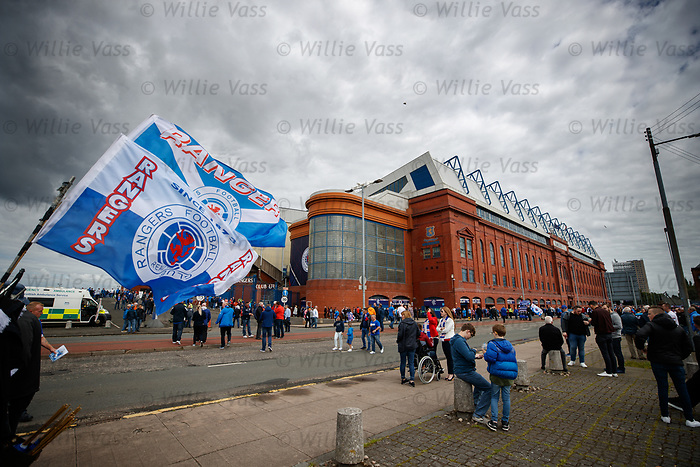 fans arrive at Ibrox Stadium