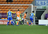 18/12/18 The Emirates FA Cup, 2nd Round Replay Blackpool v Solihull Moor<br /> <br /> Adi Yussuf scores the opening goal for Solihull Moors