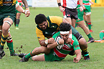 Petelo Sili tackles Fui Asoma. Counties Manukau Premier Club rugby game between Pukekohe and Waiuku, played at Colin Lawrie Fields, Pukekohe on Saturday April 14th, 2018. Pukekohe won the game 35 - 19 after leading 9 - 7 at halftime.<br /> Pukekohe Mitre 10 Mega -Joshua Baverstock, Sione Fifita 3 tries, Cody White 3 conversions, Cody White 3 penalties.<br /> Waiuku Brian James Contracting - Lemeki Tulele, Nathan Millar, Tevta Halafihi tries,  Christian Walker 2 conversions.<br /> Photo by Richard Spranger