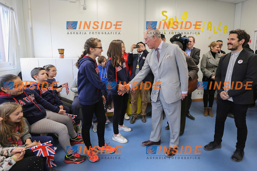 Il Principe Carlo visita le casette provvisorie<br /> Prince Charles of Wales visits the temporary wooden houses<br /> Amatrice 02/04/2017. Il Principe Carlo del Galles in visita nella zona terremotata di Amatrice<br /> Amatrice April 2nd 2017. Prince Charles of Wales visits Amatrice, hit by the earthquake of 24 August. <br /> Foto Pool / Protezione Civile / Insidefoto